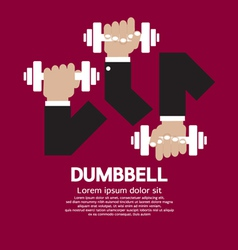 Set Of Hand Holding Dumbbell vector image