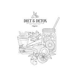 Set Of Vegan Diet Food Hand Drawn Realistic Sketch vector image vector image