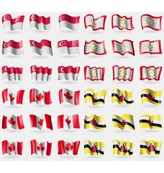 Singapore Sikkim Canada Brunei Set of 36 flags of vector