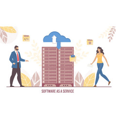 software service and data transmission technology vector image