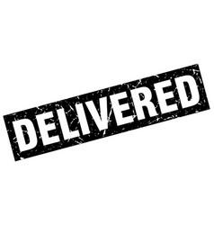 Square grunge black delivered stamp vector