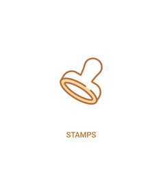 Stamps concept 2 colored icon simple line element vector