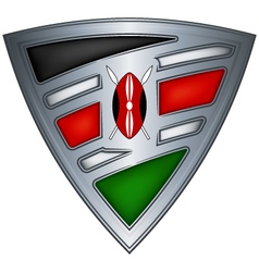 steel shield with flag kenya vector image