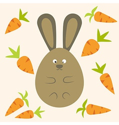 Strange Bunny Flat Stylized Egg Shaped with vector
