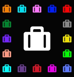 suitcase icon sign Lots of colorful symbols for vector image
