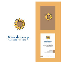 sunflower creative logo and business card vector image