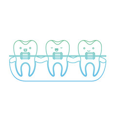 Teeth kawaii with braces in degraded green to blue vector