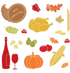 Thanksgiving colorful elements vector