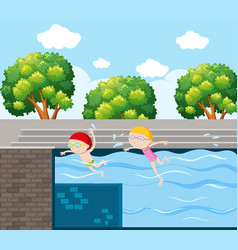 Two kids swimming in pool vector