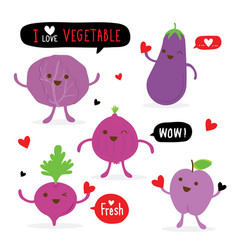 Vegetable fruit cartoon eggplant beetroot plum vector