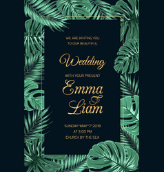 Wedding invitation template tropical leaves dark vector