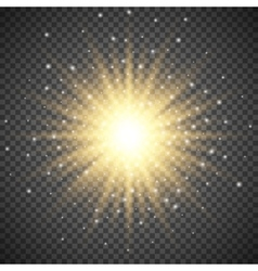White glowing light burst explosion on transparent vector