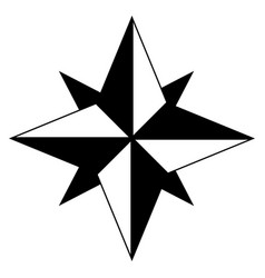 Wind rose the black color icon vector