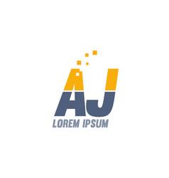 Yellow blue aj a j alphabet letter logo company vector