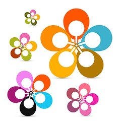 Abstract Retro Flowers Set Isolated on White vector image