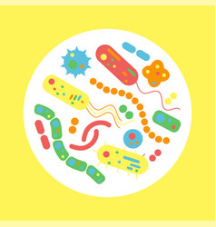 bacterial microorganism in a circle vector image vector image