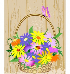 basket of flowers vector image vector image