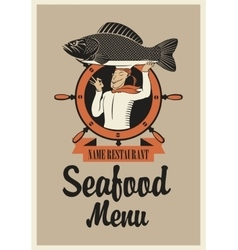 chef with fish vector image