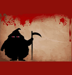Executor silhouette with predatory screwed up red vector