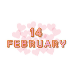 February 14 sweet cartoon letters valentines day vector