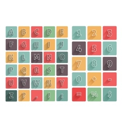 Flat alphabet A-Z icons set with long shadow vector image