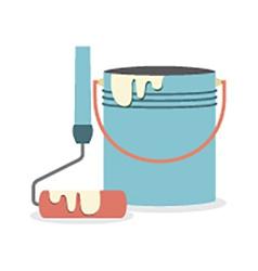 Flat Design Paint Bucket With Roller vector image vector image