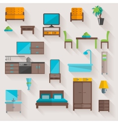 Furniture home flat icons set vector image vector image