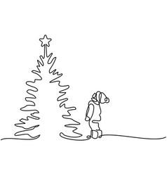 new year card boy looking at christmas tree vector image