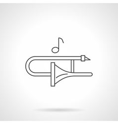 Play on trombone flat line icon vector image vector image