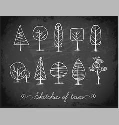 set of doodle sketch trees on blackboard vector image vector image