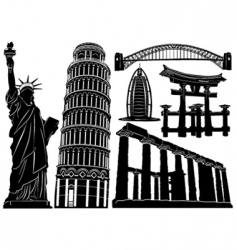 architecture and historical buildings vector image vector image