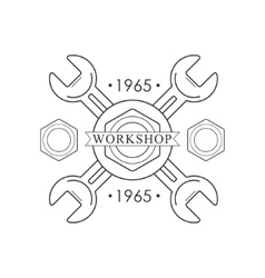 Crossed Wrenches Premium Quality Wood Workshop vector image vector image