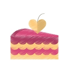 drawing delicious pink cake with love heart vector image vector image