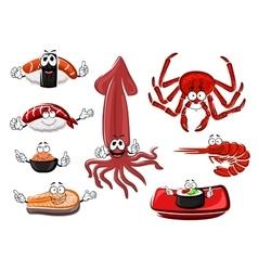 Fresh and tasty cartoon seafood vector image vector image