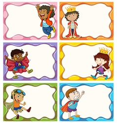 Label design with boys in costumes vector image vector image