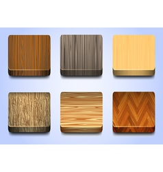 Six icons with wooden texture vector image