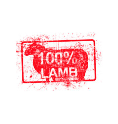 100 per cent lamb - red rubber grungy stamp in vector image vector image