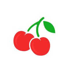 cherry berry icon cherries on white isolated vector image