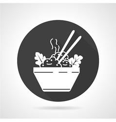 Rice dish black round icon vector image