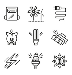 Simple line icons for saving energy concept vector image