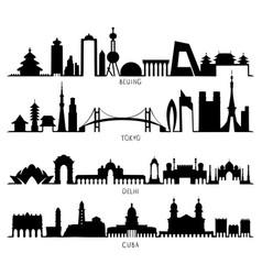 skyline silhouette beijing tokyo new delhi cuba vector image vector image