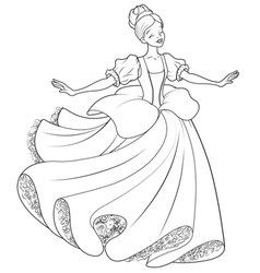 The Ball Dance of Cinderella Coloring Page vector image vector image