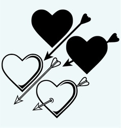 The symbol of the heart with an arrow vector image