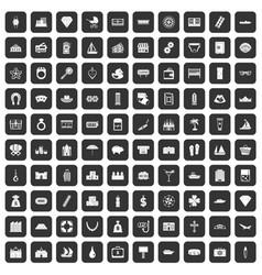 100 wealth icons set black vector