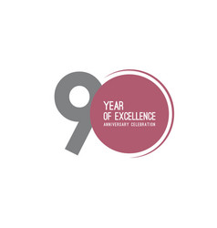 90 year excellence anniversary celebration vector