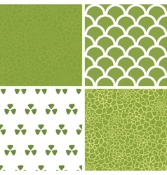 Abstract green natural texture set of four vector