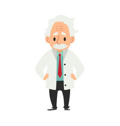 an old wise man with a mustache a scientist and a vector image