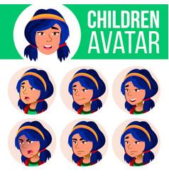 asian girl avatar set kid face emotions vector image