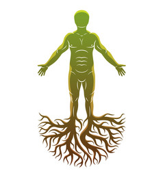 Athletic man made with tree roots celtic ancient vector