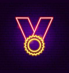 award ribbon neon sign vector image